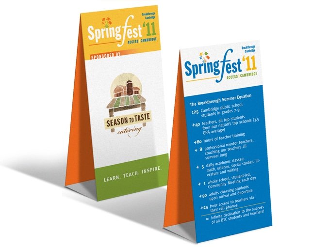 Breakthrough Springfest Table tents