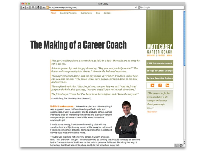 Kroner Design_Matt Casy Coaching_website